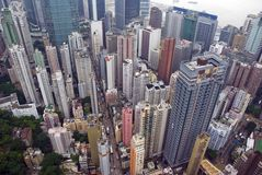 Hong Kong Wan Chai from above. A view from a skyscraper of the busy city of Wan Chai Hong Kong Stock Photos