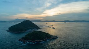 Hong Kong, West Wharf, aerial photography, looking to Green Island. Hong Kong, West Wharf, aerial photography, many people on holiday to this,drone Stock Images