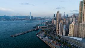 Hong Kong, West Wharf, aerial photography, many people on holiday to this. ,drone Stock Photography