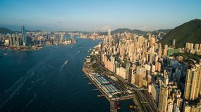 Hong Kong, Western Harbour Ferry, looking towards Central, including Victoria Harbour. ,drone Royalty Free Stock Images
