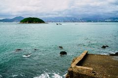 Hong Kong Western Harbour Swimming Pier stock photo