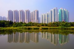 Hong Kong Wetland Park. High rise apartments above Wetland Park in Hong Kong, China Stock Images