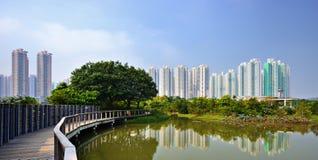 Hong Kong Wetland Park. High rise apartments above Wetland Park in Hong Kong, China Royalty Free Stock Photo