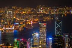 Hong Kong Wiktoria schronienia noc Zdjęcie Stock