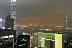 Hong Kong Wiktoria schronienia nocy widok Zdjęcia Stock