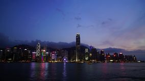 Hong Kong Wiktoria zatoka od dnia noc zbiory wideo