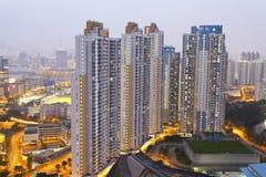 Hong Kong-Wohnungen nachts stockfotografie