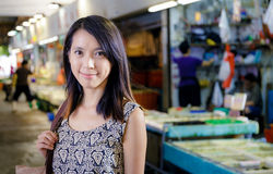 Hong Kong woman in wet market Royalty Free Stock Image