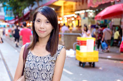 Hong Kong woman in wet market Royalty Free Stock Images