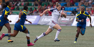 Hong Kong Womens Sevens 2014. Hong Kong, China - March 28, 2014: France playing against South Africa in the knockout stage of Hong Kong Womens Sevens. France won Royalty Free Stock Photography
