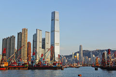 Hong Kong with working ship. Hong Kong harbour with working ship Stock Photography