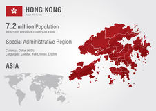 Hong Kong world map with a pixel diamond texture. Stock Image