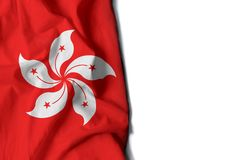 Hong kong wrinkled flag, space for text Stock Photography
