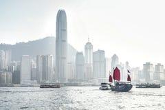 Hong-Kong y barca Fotografía de archivo libre de regalías
