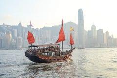 Hong-Kong y barca Fotografía de archivo