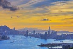 Hong Kong y Kowloon de la colina negra Foto de archivo
