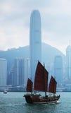 Hong-Kong y velero Fotografía de archivo libre de regalías