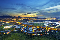 Hong Kong Yuen Long downtown sunset Royalty Free Stock Photo