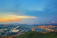 Hong Kong Yuen Long downtown sunset Royalty Free Stock Image