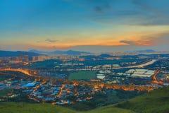 Hong Kong Yuen Long downtown sunset Stock Image