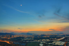 Hong Kong Yuen Long downtown sunset Stock Photo