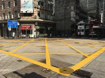 Hong Kong zebra crossing before green light. Able to see the tram against the new & run down building Stock Photography