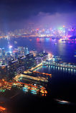 Hong- Kongantennennacht Stockfotografie