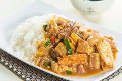 Hong- Kongartreis mit Fleisch Stockfoto