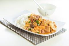 Hong- Kongartreis mit Fleisch Stockfotos