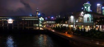Hong- Konghafen und -nachtzeit Lizenzfreie Stockbilder