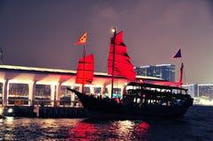 Hong- Konghafennacht - besichtigenboot Lizenzfreies Stockbild