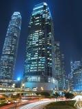 Hong- Konghandelsgrenzstein nachts Stockbilder