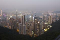 Hong- Kongnachtansicht an der Spitze Lizenzfreie Stockfotos