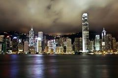 Hong- Kongnachtzeit-Skyline Lizenzfreie Stockbilder