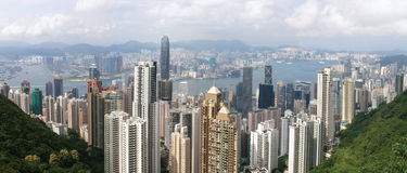 Hong- Kongpanoramische Ansicht Stockbild