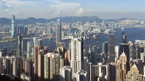 Hong kongs victoria harbour with the skyscrapers of the financial and busines stock video footage