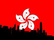 Hong- KongSkyline mit Markierungsfahne Lizenzfreie Stockfotos