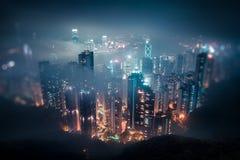 Hong- KongSkyline nachts Lizenzfreie Stockfotos