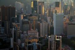 Hong- Kongstadtbild von der Draufsicht stockfotos