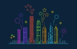 Hong- Kongstadtvektorpanorama mit festlichen Feuerwerken China-Linie Stadtbild mit Gebäuden lizenzfreie abbildung