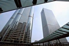 Hong kongu bridge linia horyzontu Zdjęcie Stock