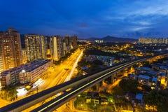 Hong kongu komunalnych pejzażu noc obraz royalty free