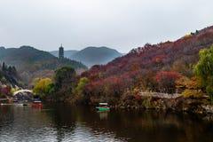 Hong Ye Gu, o valle rojo en otoño, Jinan de la hoja Foto de archivo libre de regalías