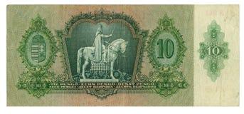 Hongaars bankbiljet bij 10 pengo, het jaar van 1936 Stock Foto