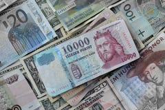 Hongaars Forint versus andere munten royalty-vrije stock foto