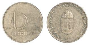10 Hongaars forintmuntstuk Royalty-vrije Stock Foto's