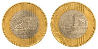 200 Hongaars forintmuntstuk Stock Fotografie