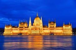 Hongaars Parlementsgebouw in 's nachts Boedapest Royalty-vrije Stock Foto's