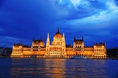 Hongaars Parlementsgebouw in 's nachts Boedapest Stock Fotografie