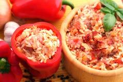 Hongaarse delicatesse, gevulde Spaanse peper Stock Afbeelding